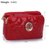 LS00388 - Red Quilted Shoulder Bag with Metal Flower Decoration
