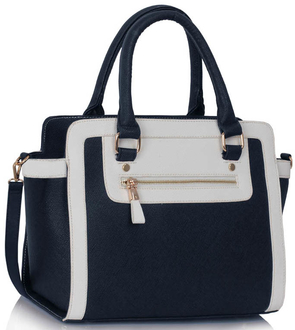 LS00255A - Wholesale & B2B Navy / White Grab Tote Handbag Supplier & Manufacturer
