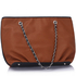 LS00389 - Brown Shoulder Bag With Chain Strap