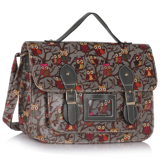 LS00226D - Grey Owl Design Satchel