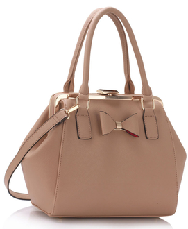 LS00258 - Nude Bow Framed Satchel