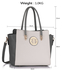 LS00149 - Grey / White Polished Metal Shoulder Handbag