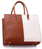 LS00319B - Large Brown / White Fashion Tote Handbag