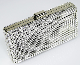 LSE0029 - Silver Sparkly Diamante Evening Clutch