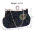 LSE00297 - Wholesale & B2B Black Sequin Peacock Feather Design Clutch Evening Party Bag Supplier & Manufacturer