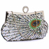 LSE00297 - Wholesale & B2B Silver Sequin Peacock Feather Design Clutch Evening Party Bag Supplier & Manufacturer