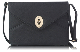 LSE00217A  - Black Twist Lock Flapover Clutch Purse