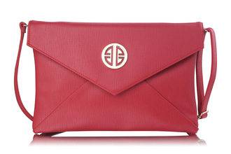 LSE00220A -  Red Large Flap Clutch purse
