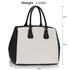 LS00359 - Top Zip Black / White Tote Handbag- Fits laptops up to 15.4''