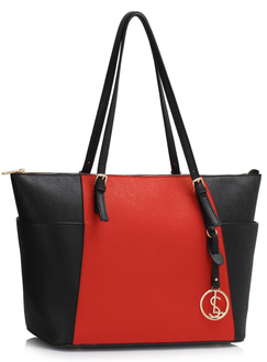 LS00350 - Wholesale & B2B Black / Red Women's Large Tote Bag Supplier & Manufacturer
