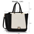 LS00358 - Black / White Metal Frame Tote Handbag