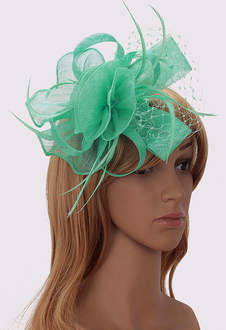 LSH00208 - Wholesale & B2B Green Flower & Feather Fascinator on Comb Supplier & Manufacturer