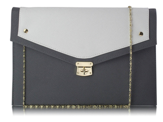 LSE00276 -  Wholesale & B2B Grey / White Large Flap Clutch purse Supplier & Manufacturer