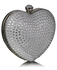 LSE0060 - Silver Diamante Hardcase Heart Clutch Bag