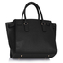 LS00396 - Black/ White Padlock Tote With Long Strap