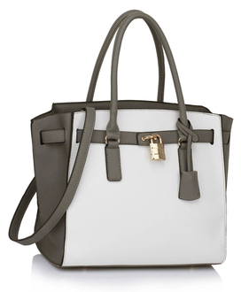 LS00396 - Grey / White Padlock Tote With Long Strap
