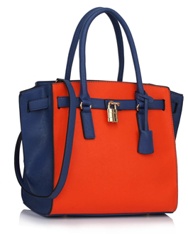 LS00396 - Wholesale & B2B Blue / Orange Padlock Tote With Long Strap Supplier & Manufacturer