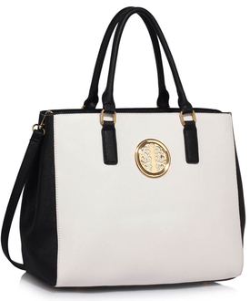 LS00349  - Black / White Tote Handbag