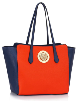 LS00403  - Wholesale & B2B Blue / Orange Shoulder Bag With Metal Detail Supplier & Manufacturer