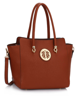 LS00149 - Wholesale & B2B Brown Polished Metal Shoulder Handbag Supplier & Manufacturer
