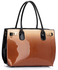 LS00245 - Nude Patent Two-Tone Handbag With Buckle Detail