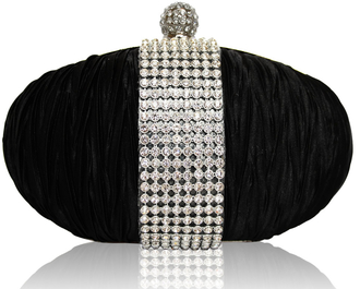 LSE0044 - Black Ruched Satin Clutch With Crystal Trim