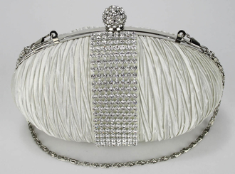 LSE0044 - Ivory Ruched Satin Clutch With Crystal Trim