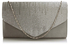 LSE0070 (NEW) - Grey Diamante Design Evening Flap Over Party Clutch Bag