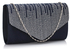 LSE0070 (NEW) - Navy Diamante Design Evening Flap Over Party Clutch Bag