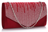 LSE0070 (NEW) - Red Diamante Design Evening Flap Over Party Clutch Bag