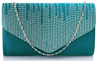 LSE0070 (NEW) - Teal Diamante Design Evening Flap Over Party Clutch Bag