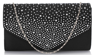 LSE00299 -  Black Diamante Flap Clutch purse