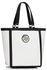 LS00401 - White Fashion Tote With Stunning Metal Work