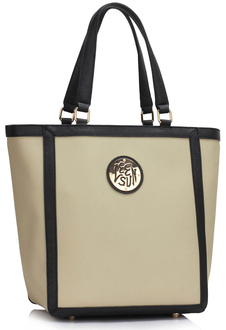 LS00401 - Grey Fashion Tote With Stunning Metal Work