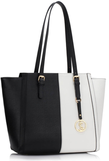 LS00464 - Black / White Women's Large Tote Bag