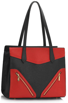 LS00405 - Black / Red Buckle Detail Shoulder Bag