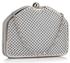 LSE00303 - Silver Beaded Clutch Bag