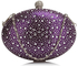 LSE00311 - Purple Diamante Design Evening Clutch Bag