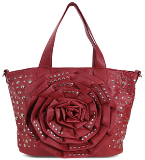 LS1156 - Red Flower Tote With Studs Detailing
