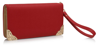 LSP1072 - Red Purse/Wallet with Metal Decoration