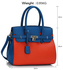 LS00140E - Blue / Orange Padlock Tote With Long Strap