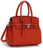 LS00140E - Orange Padlock Tote With Long Strap