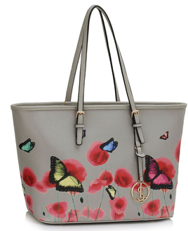 LS00297B - Grey Large Butterfly Print Tote Bag