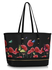 LS00460A - Black Zip Detail  Butterfly Print Tote Bag