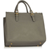 LS00366  - Grey / White Front Pocket Grab Tote Handbag