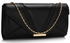LSE00306- Black Flapover Clutch Purse