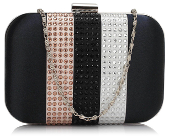 LSE00312 -  Navy Clutch Bag With Diamante Decorative Strips