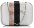 LSE00312 -  Nude Clutch Bag With Diamante Decorative Strips