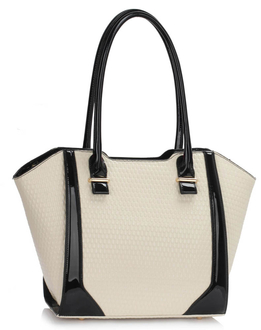 LS00473 - Cream Structured Shoulder Bag