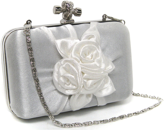 LSE0042 - White Satin Flower Clutch Bag